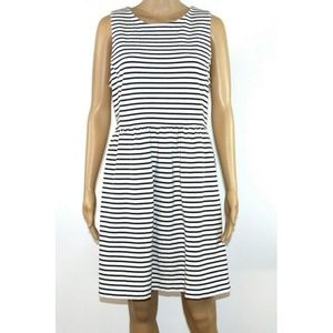 J. Crew Large Daybreak White Black Striped Dress
